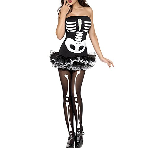 Costumes In Kuwait (SmarketL Halloween Day Strappy Cagged Halter Occult Bones Print Bandage Club Dress Fever Skeleton Halloween Costume LC8899 Black One Size)