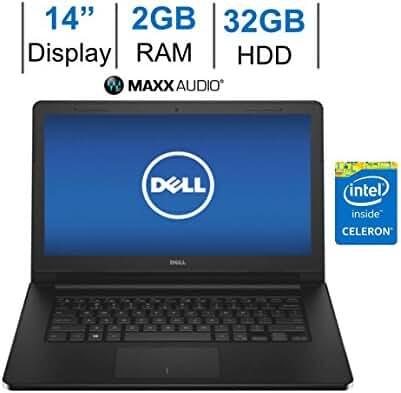 2017 Dell Inspiron 14-inch HD (1366 x 768) LED-Backlit Display Laptop PC | Intel Celeron 1.6GHz | 2GB RAM | 32GB eMMC | HDMI | WiFi | Bluetooth | WebCam | MaxxAudio Pro | Windows 10 | Black