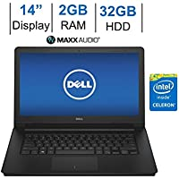 Dell Inspiron 14-inch HD (1366 x 768) LED-Backlit Display Laptop PC | Intel Celeron 1.6GHz | 2GB RAM | 32GB eMMC | HDMI | WiFi | Bluetooth | WebCam | MaxxAudio Pro | Windows 10 | Black