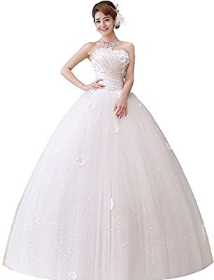 Clover Bridal Strapless Pleats Applique Ruched Wedding Dresses for Bride 2016 White