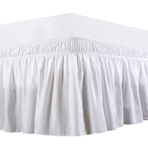 Rajlinen Wrap Around Bed Skirt -Polyester/Microfiber Elastic Dust Ruffle Three Fabric Sides Silky Soft & Wrinkle Free Classic Stylish Look in Your Bedroom (White, Full /18) ()