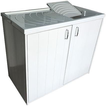 Arredobagnoecucine - Mueble para lavadero - Mueble cubre lavadora con pileta para lavar - Versión reversible - Con 2 puertas: Amazon.es: Hogar