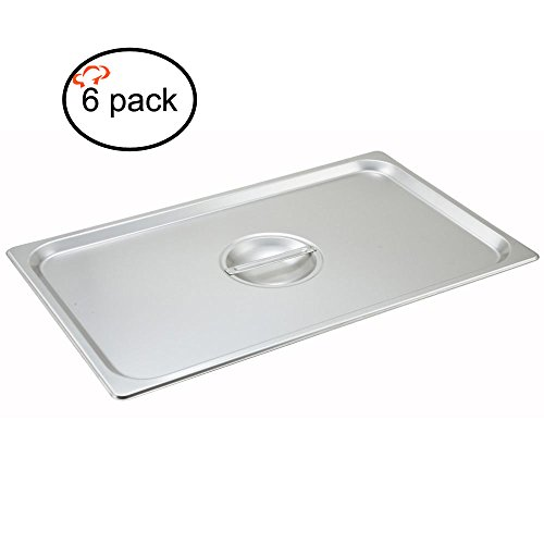 (Tiger Chef 1/1 Full Size Stainless Steel Steam Table Pan Cover, Solid Full Size Non-Stick Surface Steam Pan Lids With Handle 6 Pack )