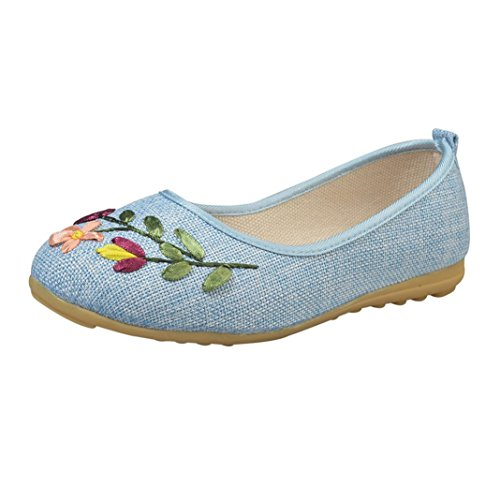 Jamicy Blue Casual Linen Vintage Girls Summer Women Light Flat Scarpe Comodo Flower Ricamato 7ZrqBf7w