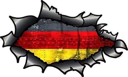 Ovalado Efecto Rasgado Abierta Desgarrado Fibra de Carbono Fibra Effect Dise/ño con Alemania Bandera Alemana Impreso Pegatina Vinilo Coche 150x90mm