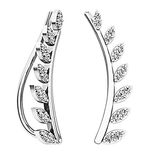 (Dazzlingrock Collection 0.25 Carat (ctw) 10K Round Cut White Diamond Ladies Leaf Shaped Climber Earrings, White Gold)