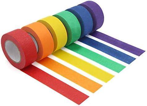 Ruban de Peintre Color/é pour le Bricolage,/éTiquetage ou Codage,6 Rouleaux de Couleurs Diff/éRentes Vaorwne Ruban de Masquage Color/é Ruban de Masquage 1 Pouce X 13 Verges 2,4 Cm X 12 M