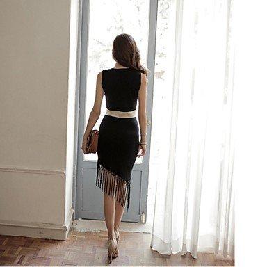 PU&PU Robe Aux femmes Gaine Simple,Mosaïque Col Arrondi Asymétrique Coton / Polyester , black , m