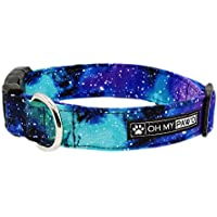 Galaxy Print Collar for Pets Size Medium with Extra Width 1 Inch Wide and 14-20 Inches Long - Hand Made Dog Collar by Oh My Paw'd