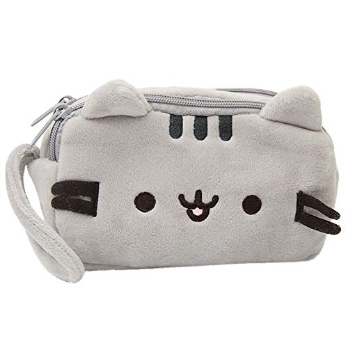 Tpingfe Cat Pencil Case Cute Plush Pen Bag Makeup Pouch Cosmetic Bag Kid Stationery -