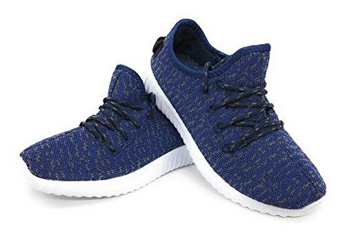 Bleu Berry Easy21 Garçons Et Filles Respirant Mode Sneakers Casual Slip-on Mocassins Chaussures De Course, Marine / Gris / Blanc, 10 M Nous Femmes