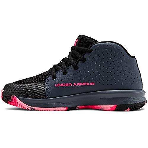 Under Armour Unisex-Kid's Pre School 2019 Basketball Shoe, Downpour Gray (401)/Black, 2