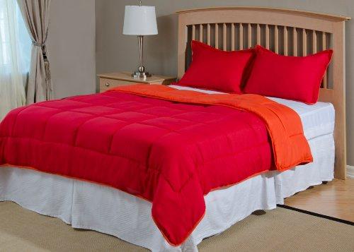Reversible Mini Bed Set - 3 Piece - Tango Red / Mandarin Red - King ()