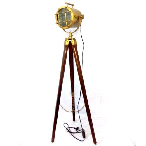 Brass Floor Lamp Amazon: Brass Polished Wooden Tripod Stand Lighting Floor Lamp