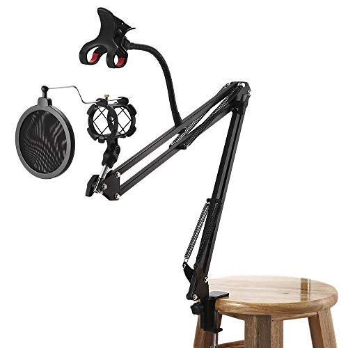 Professional Adjustable Microphone Suspension Boom Scissor Arm Stand Kits with Pop Filter Shock Mount and Phone Clamp Clip on Desk - Desk Mount Clamp Kit