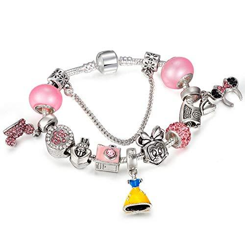 Monet Bracelet Pattern (2018 Fashion Handmade Mickey Minnie Charm Bracelets Fits Brand Bracelet for Women DIY Jewelry,6,18cm)