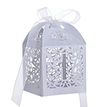 Aspire 50 Pcs / Pack Cross Favor Boxes Wholesale Laser Cut Candy Paper Box Wedding Party Accessories-White-1 pack