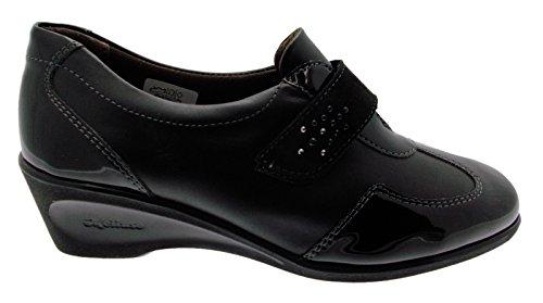 vrouw schoen art K90256 zwarte huid rippen verf wedge