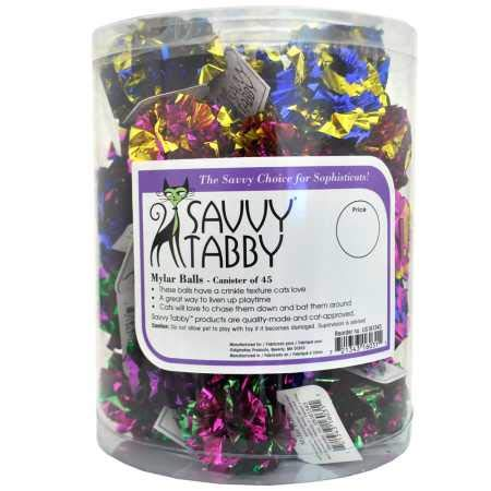 SAVVY TABBY Mylar Crinkle Ball Cat Kitten Toys- 45 Pieces per Canister by SAVVY TABBY