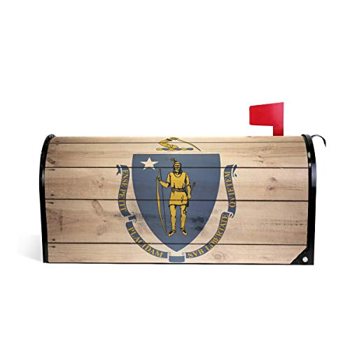 Massachusetts Flag Magnetic Mailbox Cover Wraps Letter Post Box Outdoor Decor 25.5