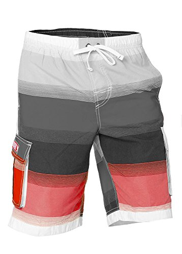 e57c6d08d02ce Boys Quick Dry Swim Trunks Cargo Water Shorts with Mesh Lining (Red  Stripes, 6