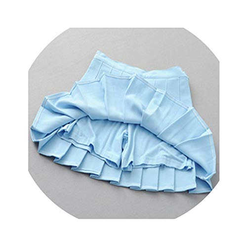 three- Pleat Mini Skirt Harajuku Preppy Style Women Sexy Jupe Faldas School Uniforms Cute Sweet Ladies,Blue,S ()