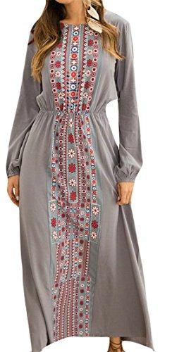 Dresses Retro Gray Style Elastic Cromoncent Ethnic Long Womens Maxi Waist Floral Print Sleeve 7wqnUP5q