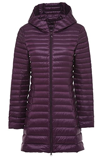 Chouyatou Women's Hooded Full-Zipper Lightweight Packable Down Anoraks Jacket Purple
