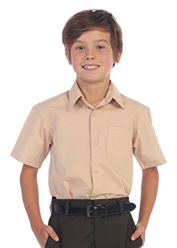 Gioberti Boy's Short Sleeve Solid Dress Shirt, Khaki, 7]()