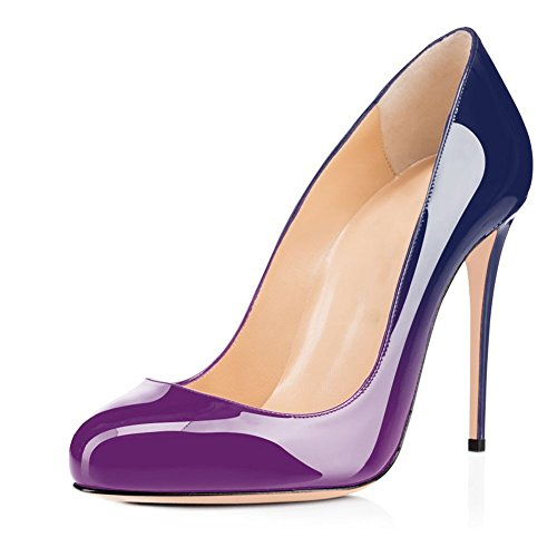 Joogo Round Toe Party Stilettos Slip On High Heels 4.7 inches Thin Heel Classics Pumps Purple Blue Size 10 ()