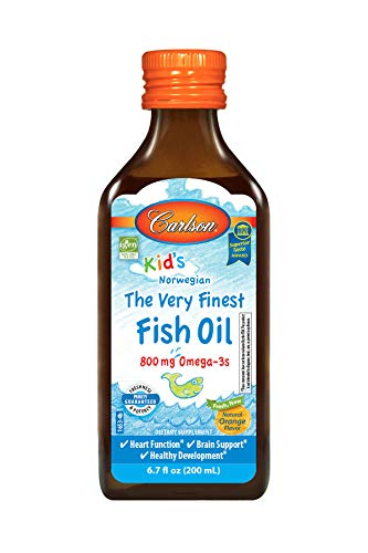 Carlson - Kid's The Very Finest Fish Oil, 800 mg Omega-3s, Norwegian, Sustainably Sourced, Orange, 200 ml (Best Fish Oil For Kids)