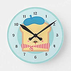 Aet3thew Cute French Toast with Blue Beret Hat Wooden Wall Clock Round Silent Home Decor Gift for Kitchen, Living Room, Bedroom 12 inch