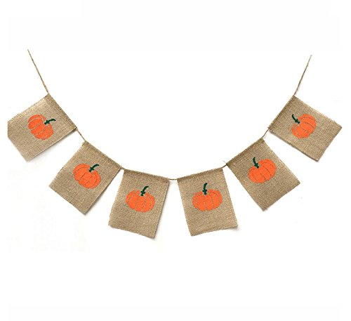 (EBTOYS Thanksgiving Day Pumpkin Burlap Banner Happy Fall Harvest Bunting Banner Flag Garland Home Party Decoration)