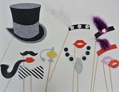 Photo Booth 1920 Inspired Great Gatsby Photo Booth Party Props Mustache on a Stick Wedding Photo Booth Props (Rhinestones Foamies)