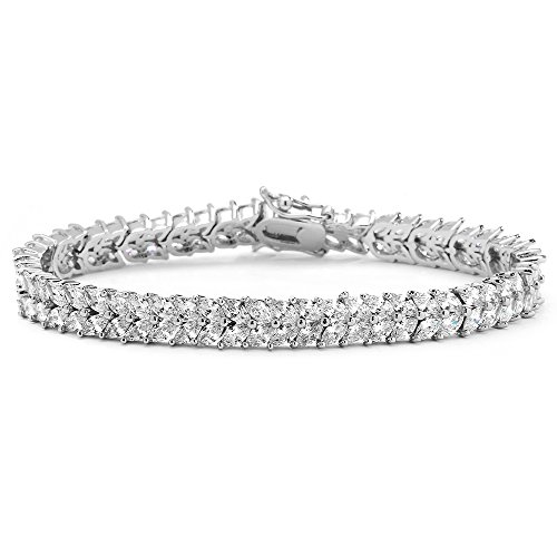 Mariell Silver Platinum Cubic Zirconia Tennis Bracelet for Women - Bridal, Wedding or Everyday Jewelry Gemstone Double Row Bracelet