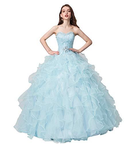 (Engerla Women's Beading Sweetheart Ball Gown Tulle Layed Long Quinceanera Dress(US14) Light Blue)