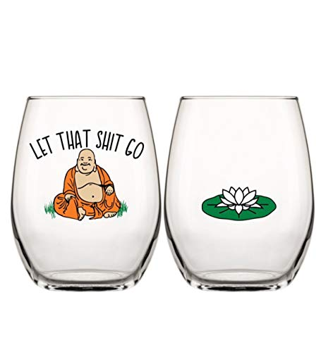 Drinking Divas 'Let That Shit Go' Buddha Wine Glass - Stemless Wine Tumbler | Funny Gifts with Sayings for Women | For A Yoga Teacher, Best Friend, Mom, Sister, Birthday or Bachelorette Party by Drinking Divas