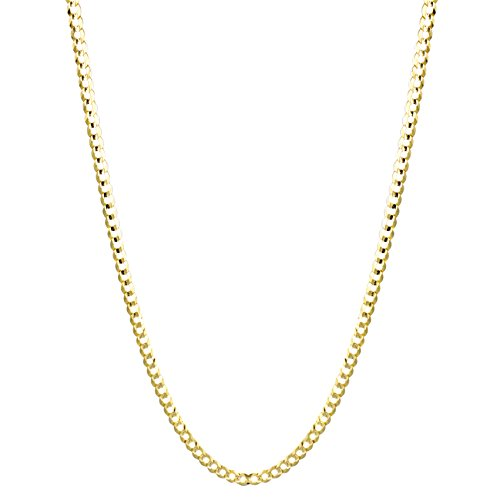 IcedTime Solid 10K Yellow Gold Italy Cuban Curb Link Chain Necklace 3mm Wide 24'' Long with Lobster Clasp by IcedTime (Image #2)