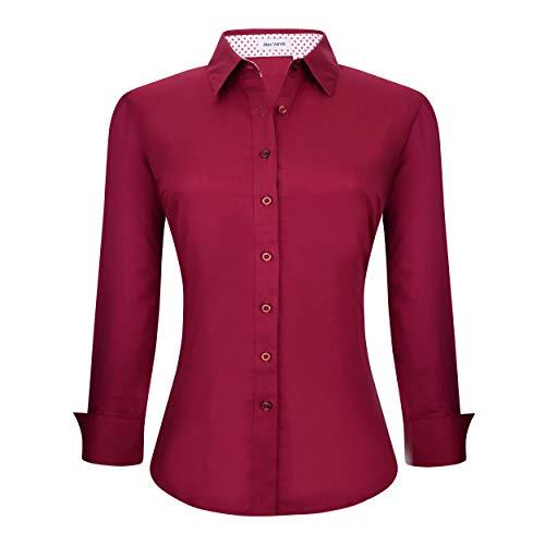 - Alex Vando Womens Dress Shirts Regular Fit Long Sleeve Cotton Stretch Work Shirt,Burgundy,S