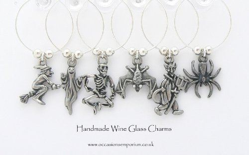 Gothic Halloween Wine Glass Charms]()