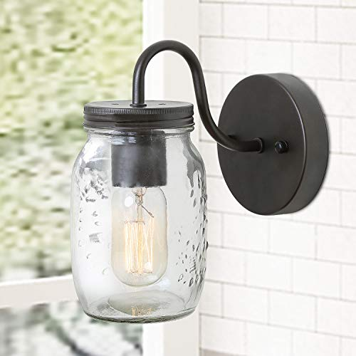 LNC Wall Sconce,Farmhouse Glass Mason Jar Lights A02979, Brown