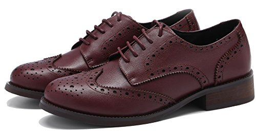 U-lite Donna Stringate Perforate Stringate Piatte In Pelle Oxford Vintage Scarpe Oxford Brogue Bordeaux