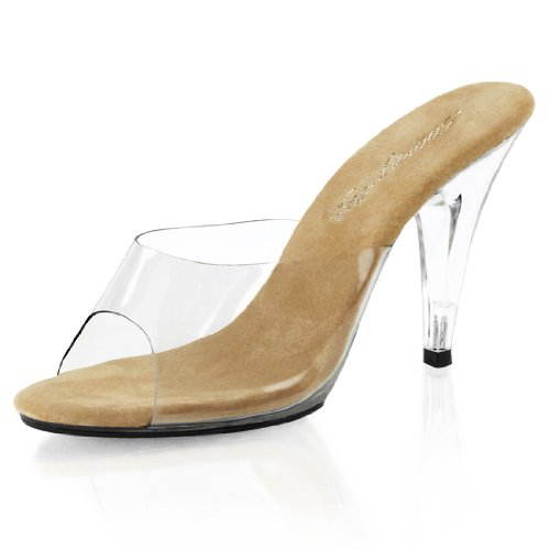 Classic and Classy Clear High Heel Pageant Shoes with 4 Inch Heels Size: (Clear Mule Slide)