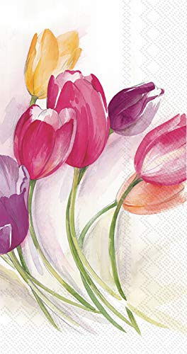 Ideal Home Range 3-Ply Paper Tulip Season, 16 Count Guest Towel Napkins Set of 2