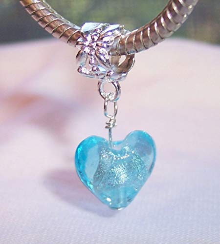 Blue Glass Heart Foil Murano Dangle Charm for Silver European Slide Bracelets Crafting Key Chain Bracelet Necklace Jewelry Accessories Pendants