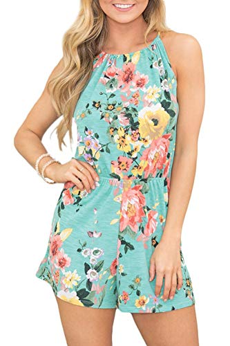 Women's Spaghetti Strap Beach Sleeveless Romper Boho Floral Short Pants Cotton Jumpsuit Green M