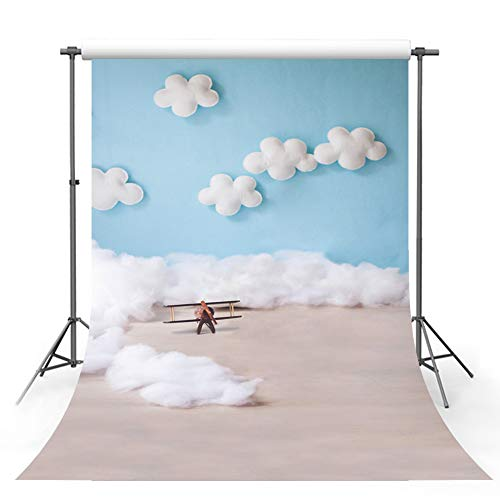 MEHOFOTO Cute Cartoon Blue Sky and White Cloud Boy Baby Birthday Party Banner Decoration Pilot Aircraft Bokeh Backdrops for Photography -