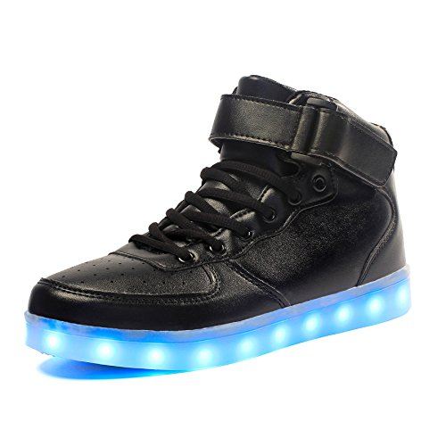 Voovix Kids LED Light Up Shoes USB Charging Flashing High-top Sneakers for Boys and Girls Child Unisex(Black,39) (Best Glow In The Dark Sneakers)