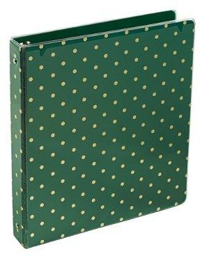 "Bohemian 1"" Round 3-Ring Fashion Binder, Green w/ Gold Polka Dots"