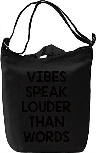Vibes speak Borsa Giornaliera Canvas Canvas Day Bag| 100% Premium Cotton Canvas| DTG Printing|